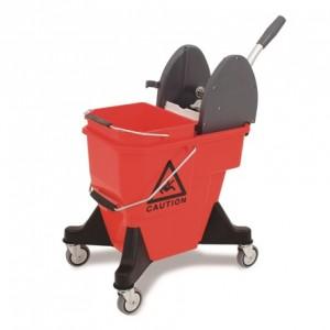 CARRO ALEX-2, Cubo de 25 litros de plástico reforzado. Incorpora un cubo separador de aguas de 12 litros, prensa de plástico, ruedas de 80 mm. Dimensiones: 52x40x82 cm