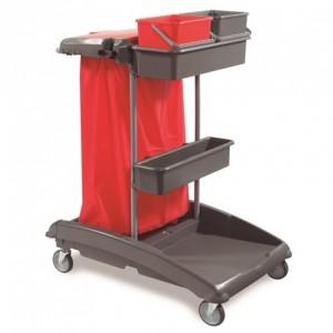 CARRO IDEATOP 1, Con base de polipropileno, montante metálico, 2 bandejas, 2 cubos de 6 litros, 2 pinzas, 4 ganchos colgadores, portabolsa de 120 litros, ruedas de 100 mm. Dimensiones: 83x54x115 cm