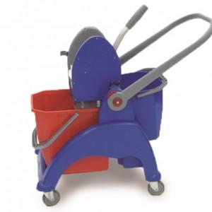CARRO SKY COMPACT MP, Estructura de plástico reforzado, asa de plástico abatible, 1 cubo de 25 litros, 1 cubo de 12 litros, prensa de plástico, ruedas de 80 mm. Dimensiones: 61x46x88 cm
