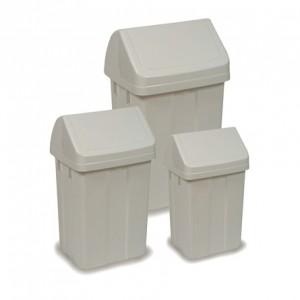PAPELERA BASCULANTE, Completa línea de contenedores plásticos con tapa basculante. Disponibles en tres tamaños distintos: 12, 25 y 50 litros