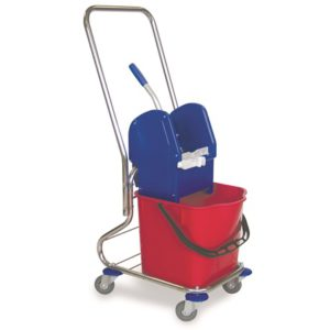 CARRO MONO EMPUÑADURA CROMADO, Bastidor de tubo cromado, cubo de 25 litros, prensa de plástico, ruedas de 80 mm. Puede incorporar una cesta pequeña. Dimensiones: 48x33x104 cm