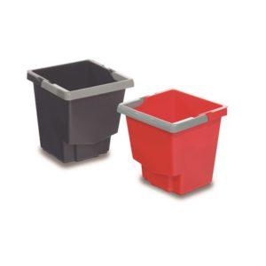 CUBO PLÁSTICO 15 LTS, Cubos de plástico de gran resistencia para uso en los carros. Disponibles en rojo y gris